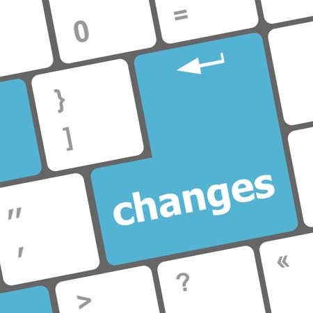 modificar: cambiar por delante concepto con la tecla en el teclado Foto de archivo