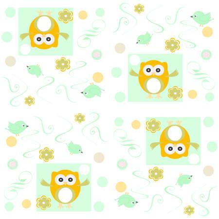 Seamless owls pattern photo