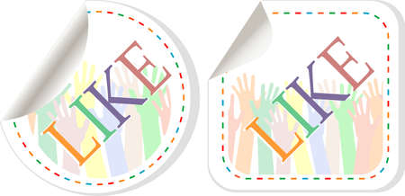 Like symbols sticker set with multicolored hands. Stock Photo - 19208059
