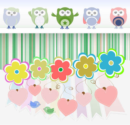 sweet owls, flowers, love hearts and cute birds photo