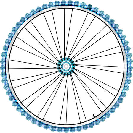 Bike wheel isolated on white background.  photo