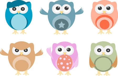 Set of six cartoon owls with various emotions photo