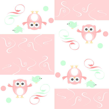 Seamless colourfull owl and birds pattern for kids in vector photo