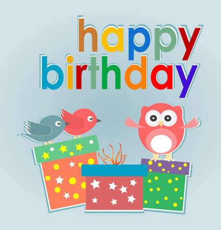 Vector birthday party card with cute owl, birds and gift boxes - happy birthday photo