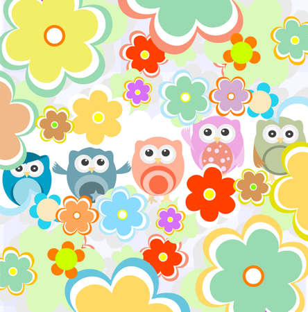 Background with flowers and cute owls. holidays theme photo