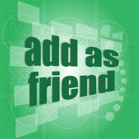 Add as friend word on digital screen - social concept Stock Photo - 19335314