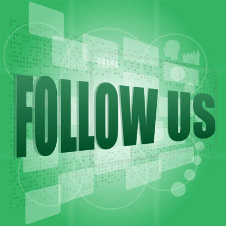 word follow us on digital background on digital screen photo