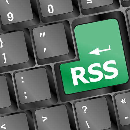 extensible: RSS button on keyboard close-up Stock Photo