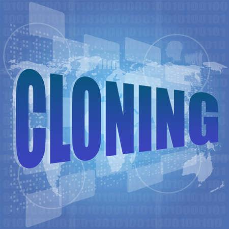 clonacion: palabra clonación en la pantalla digital