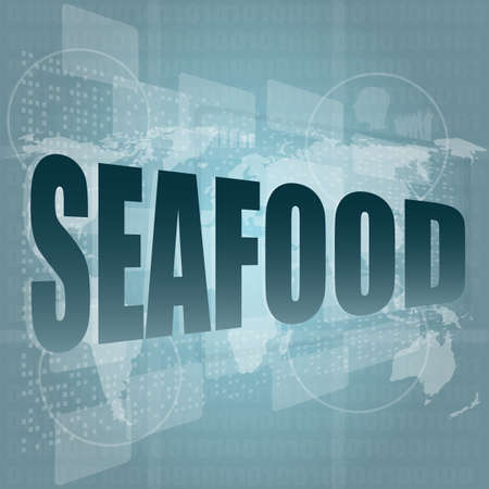 seafood word on a virtual digital background photo