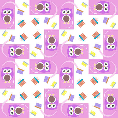 cute owl card. Baby girl arrival announcement card. Seamless pink background pattern photo