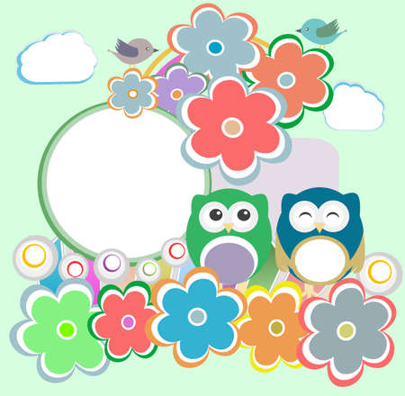 day nursery: Background with owl, flowers and birds Stock Photo