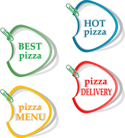 Best pizza, hot pizza, delivery stickers set photo