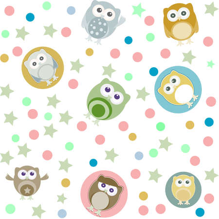 Bright background with owls, stars and circles. Seamless pattern photo