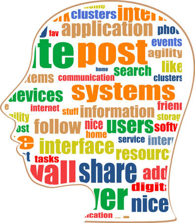 the silhouette of his head with the words on the topic of social networking Stock Photo - 19336155