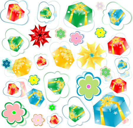 seamless background of gift boxes with different  pattern photo