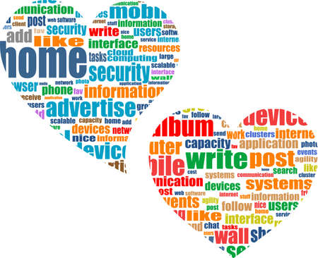 microblogging: Social media business concept in love heart