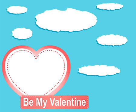 Valentine heart balloons and clouds against blue sky Stock Photo - 19335496