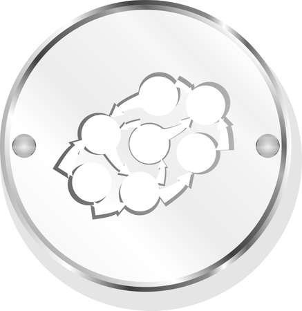 Realistic Brushed Metal Button with abstract cloud and arrows. Isolated Stock Photo - 19335507