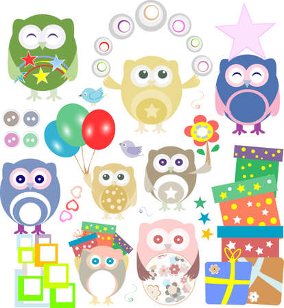 Set of christmas and winter themed owls photo