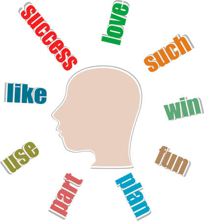 Creative Thinking people head in word collage Stock Photo - 19335625