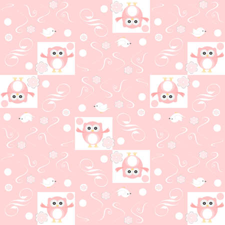 Cute floral seamless background with pink owls photo