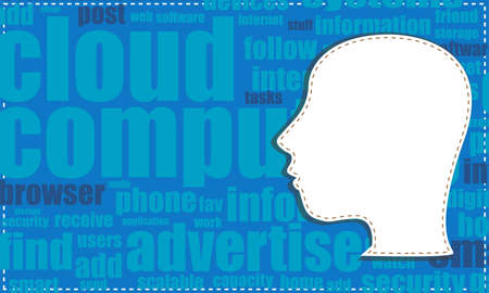 the silhouette of his head with the words on the topic of social networking Stock Photo - 19435453