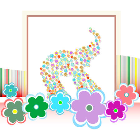 catchy: happy birthday card with cute elephants and many flowers Stock Photo