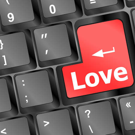 Modern keyboard with love text. Social network concept photo