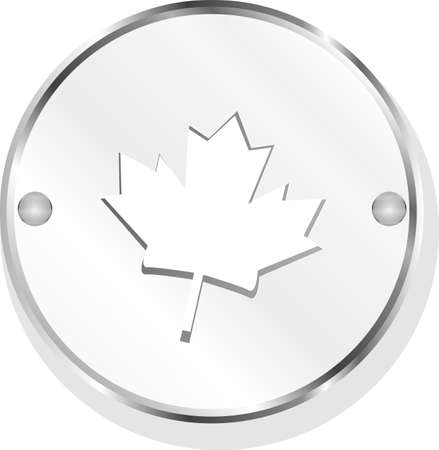 Metal button with mapple leaf sign Stock Photo - 19435422