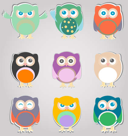 set of cute owls photo