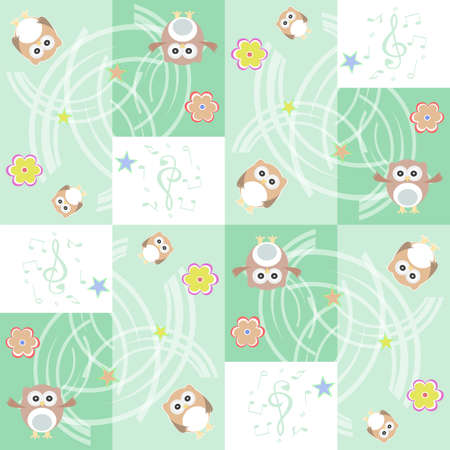 Seamless flowers and owl pattern background photo