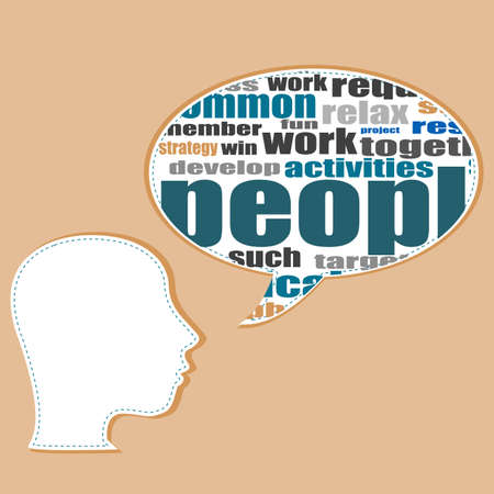 transactional: Word cloud business concept with businessman head, career development Stock Photo