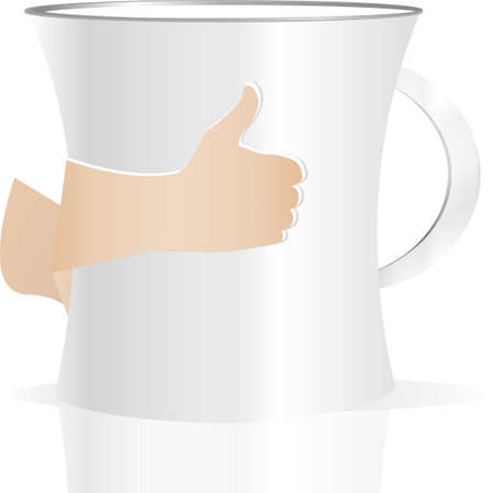 Man holding a cup of coffee, isolated on white photo