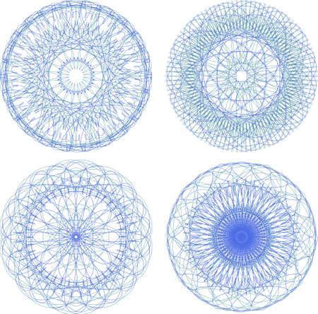 vishuddha: abstract blue with circle pattern, mandala set Stock Photo