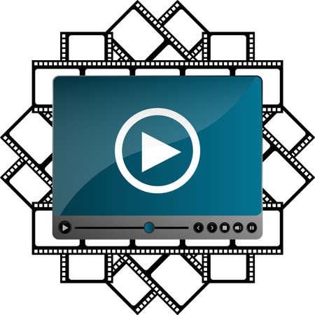 adjuster: Video movie media player on film cinema strip Stock Photo