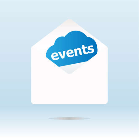 events word on blue cloud on envelope Stock Photo - 19435698