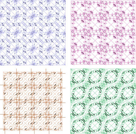 Set of four seamless pattern in retro style photo