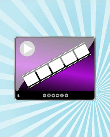 adjuster: Video Movie Media Player on abstract blue ray background