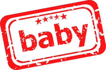 word baby on red rubber stamp photo