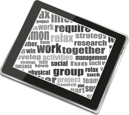 Business and financial words and tablet pc with empty screen Stock Photo - 19435785