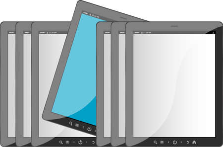 Group of tablet pc on white isolated background photo