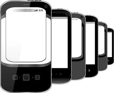 Photo-realistic illustration of different smart phones with copyspace on the screen - isolated Stock Illustration - 19435745