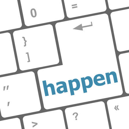 happen word on computer pc keyboard key Stock Photo - 19435734