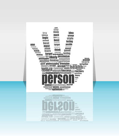 Info text graphic Positive Thinking in word cloud. head in flyer photo