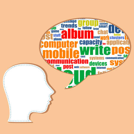 The word social media on speech bubbles Stock Photo - 19619947