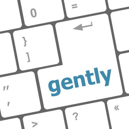 gently: gently word on computer pc keyboard key Stock Photo
