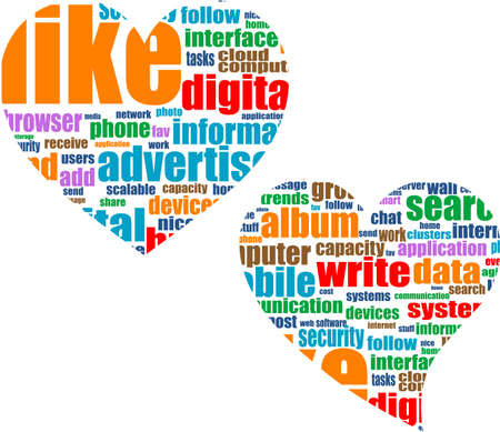 Social media marketing concept in word tag cloud in heart Stock Photo - 19619996