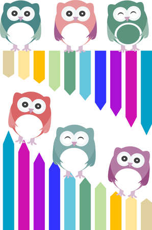 set of colorful owls with different expressions photo