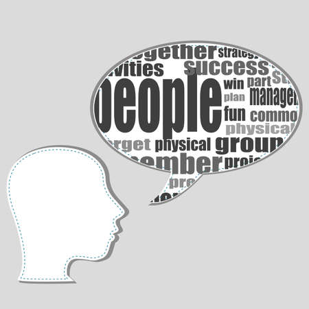 Head with the words on the topic of social networking and media Stock Photo - 19619925